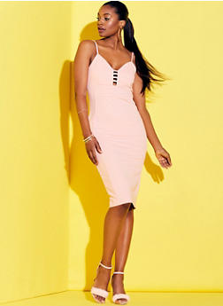 Sleeveless Caged V Neck Bandage Dress - 0096038347989
