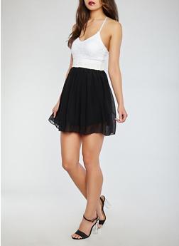Lace Top Chiffon Dress - 0096038348746