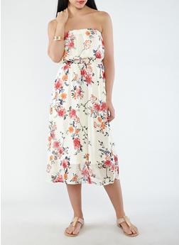 Printed Chiffon Tube Dress - 0096051063447