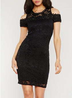 Lace Cold Shoulder Sheath Dress - 0096054265855