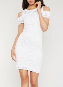 Lace Cold Shoulder Sheath Dress - WHITE - 0096054265855