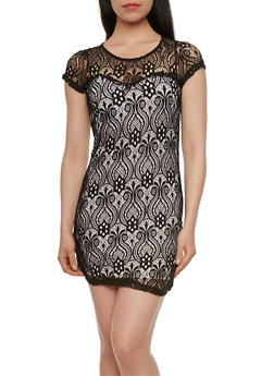 Sweetheart Neckline Lace Mini Dress with Cap Sleeves - 0096058750991