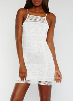 Lace Bodycon Dress with Zip Back - WHITE - 0096058751904