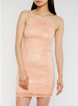 Lace Bodycon Dress with Zip Back - 0096058751904