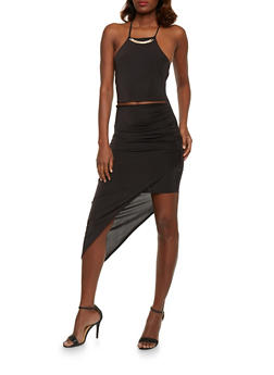 Spaghetti Strap Bodycon Dress with Asymmetrical Hem - 0096058752250