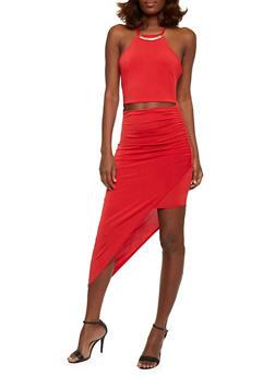 Spaghetti Strap Bodycon Dress with Asymmetrical Hem - 0096058752250