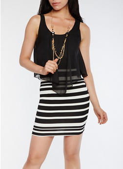 Striped Chiffon Overlay Bodycon Dress with Necklace - 0096058752272