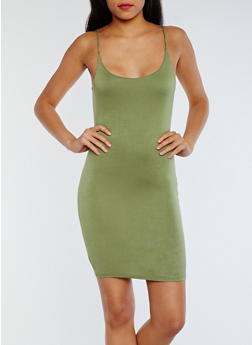 Open Back Bodycon Slip Dress - OLIVE - 0096058752299