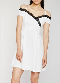 Off the Shoulder Dress with Crochet Trim - OFF-WHITE/BLACK - 0096058752351