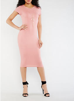 Caged Back Bodycon Dress with Necklace - 0096058752565