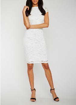 Lace Midi Sheath Dress - OFF-WHITE - 0096058752598