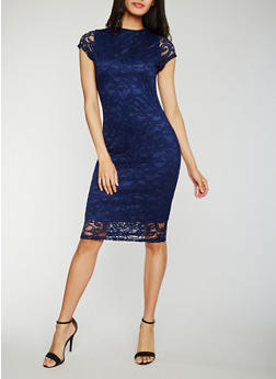 Lace Midi Sheath Dress - 0096058752598