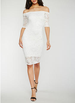 Off the Shoulder Lace Midi Dress - OFF WHITE - 0096058752607