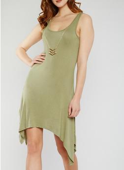 Sleeveless Hanky Hem Tank Dress with Necklace - 0096058752613