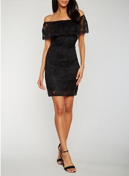 Off the Shoulder Lace Peasant Dress - 0096058752673