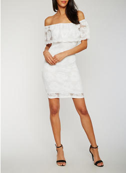 Off the Shoulder Lace Peasant Dress - OFF WHITE - 0096058752673