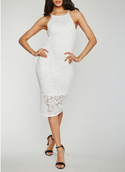 Sleeveless Lace Sheath Dress - OFF WHITE - 0096058752674