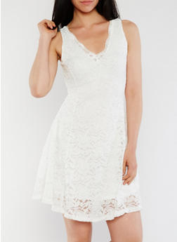 Sleeveless Lace Skater Dress with V Neck - OFF-WHITE - 0096058752683