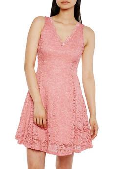 Sleeveless Lace Skater Dress with V Neck - 0096058752683