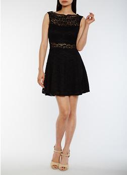 Sleeveless Lace Skater Dress - BLACK - 0096058752684