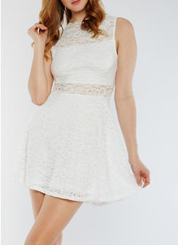 Sleeveless Lace Skater Dress - OFF WHITE - 0096058752684