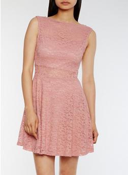 Sleeveless Lace Skater Dress - 0096058752684