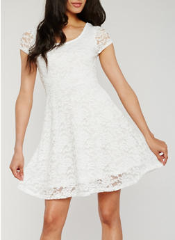 Short Sleeve Lace Skater Dress - WHITE - 0096058752685