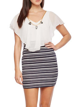 Striped Textured Knit Dress with Chiffon Overlay and Necklace - 0096058930123