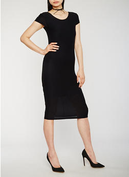 Soft Knit Bodycon Dress with Caged Back - BLACK - 0096061639516