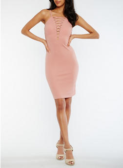 Caged Solid Textured Knit Bodycon Dress - 0096069390209