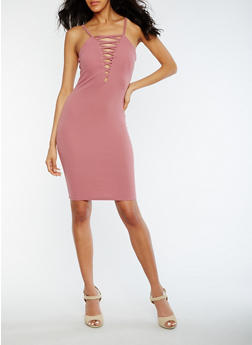 Caged Solid Textured Knit Bodycon Dress - DARK MAUVE - 0096069390209