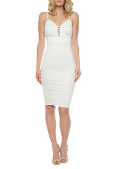 Sleeveless Coated Midi Dress with Plunging Cutout Neckline - 0096069390215