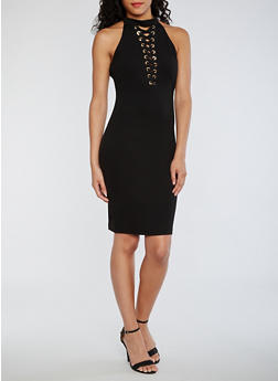 Soft Knit Lace Up Sleeveless Dress - BLACK - 0096069390274