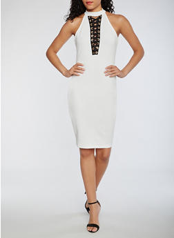 Soft Knit Lace Up Sleeveless Dress - IVORY - 0096069390274
