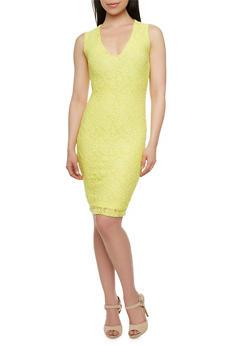 Sleeveless Lace Midi Dress with V-Neck - 0096069392135