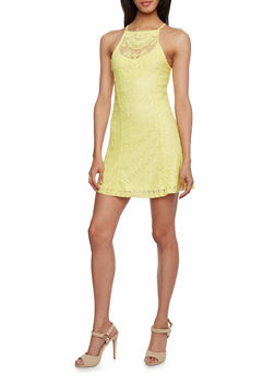 Embroidered Dress with Cutaway Shoulders - 0096069392245