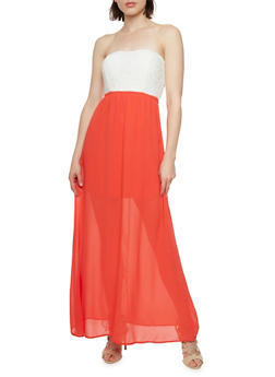 Strapless Maxi Dress with Crochet Bodice and Cutout at Back - 0096069392469