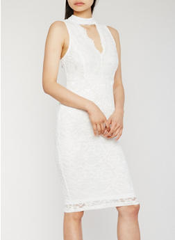 Sleeveless Lace Midi Dress with Keyhole - WHITE - 0096069392753