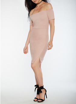 Off the Shoulder Faux Wrap Front Dress - LIGHT MAUVE - 0096069392848