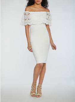 Mid Length Off the Shoulder Bodycon Dress with Crochet Overlay - WHITE - 0096069392858