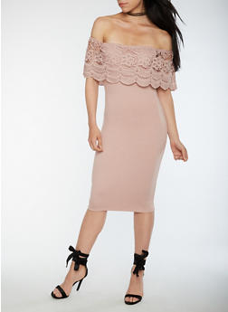 Mid Length Off the Shoulder Bodycon Dress with Crochet Overlay - 0096069392858