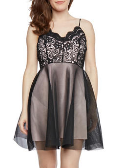 Lace Dress with Mesh Skirt - 0096072817061