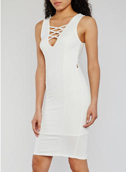 Sleeveless Caged Bodycon Dress - OFF WHITE - 0096073371030