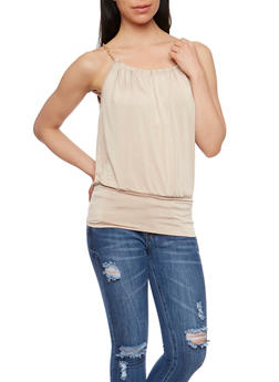 Gold Chain Tank Top with Keyhole Back - 0300038347187