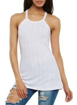 Rib Knit Tank Top with Lace Up Racerback - WHITE - 0300038347213
