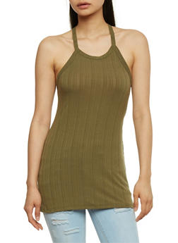 Rib Knit Tank Top with Lace Up Racerback - OLIVE - 0300038347213