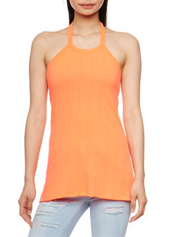 Rib Knit Tank Top with Lace Up Racerback - 0300038347213