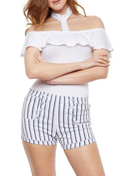 Off the Shoulder Choker Top with Ruffle Overlay - WHITE - 0301038347028