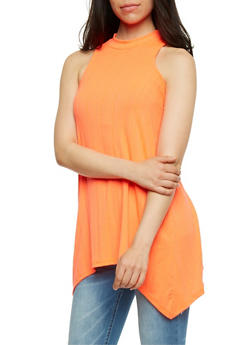 Rib Knit Sleeveless Mock Neck Tunic Top - 0301038347215