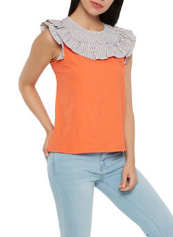Striped Ruffle Yoke Top - 0301058751630
